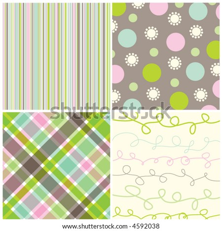retro sweet pink green pattern combo (vector) - illustrated pattern - stock vector