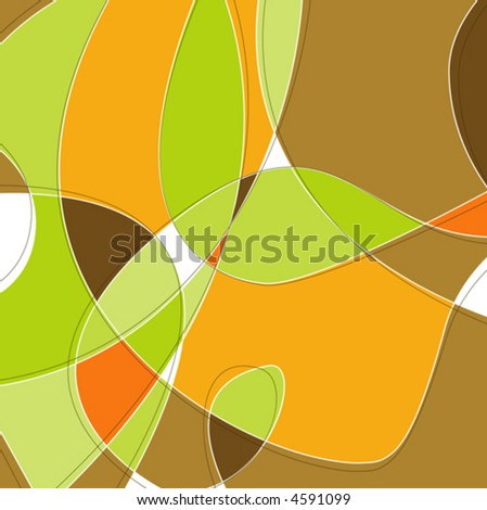 Retro Swirl Loopy Background of stylish, orange green and brown shapes. Easy-edit layered vector file--No transparencies or strokes! - stock vector