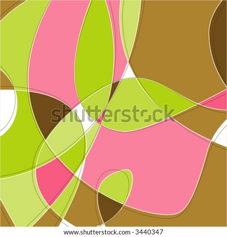 Retro Swirl Loopy Background of stylish, pink green and brown shapes. Easy-edit layered vector file--No transparencies or strokes! - stock vector