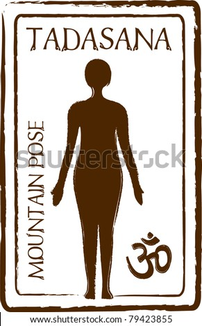 Retro Tadasana Mountain Yoga Pose in Passport Stamp Style Vector Illustration - stock vector