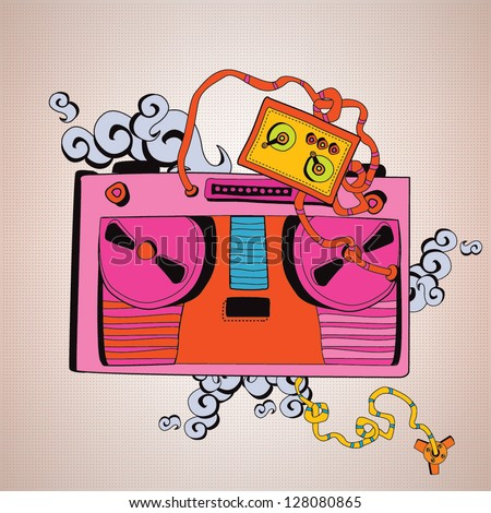 Retro tape recorder - stock vector