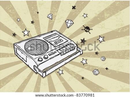 Retro Tape Recorder - stock vector