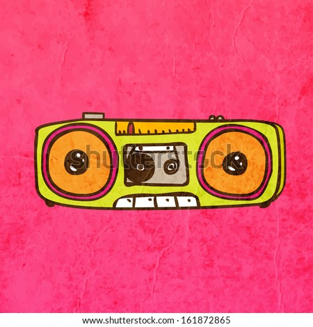 Retro Tape Recorder. Cute Hand Drawn Vector illustration, Vintage Paper Texture Background - stock vector