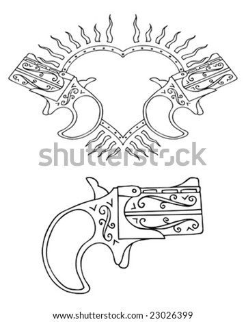 retro tattoo heart and gun - stock vector