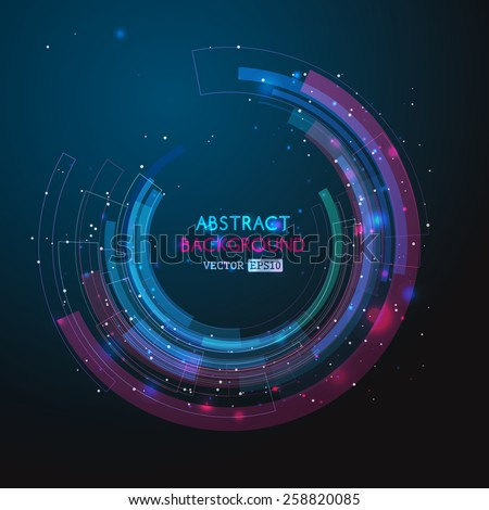 Retro technology circle illustration. Abstract vector template. There is place for your text in the center.  - stock vector