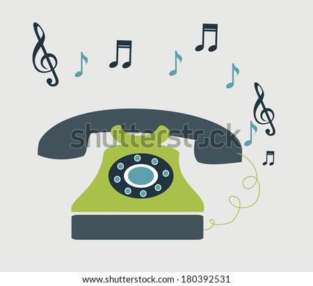 retro telephone  over gray background vector illustration - stock vector