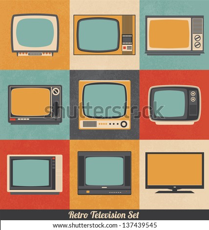 Retro Television Icons - stock vector