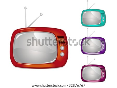 Retro Television Illustration (Global Swatches Included) - stock vector