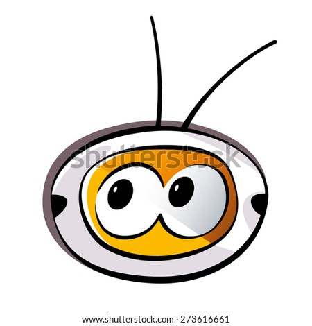 Retro television illustration, with eyes, isolated on white background. Vector illustration. - stock vector