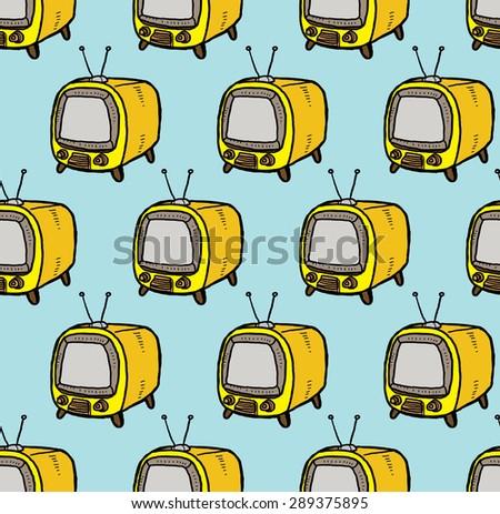 retro television pattern - stock vector