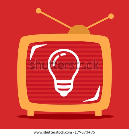 retro television shows on the screen light bulb. - stock vector