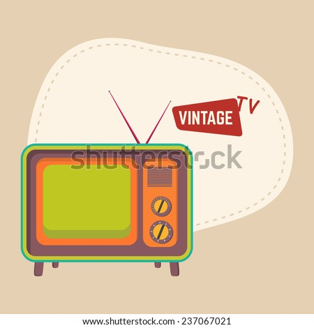 Retro television with anteena and space for your text on beige background. - stock vector