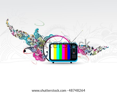 Retro television with floral grunge music theme, vector illustration - stock vector