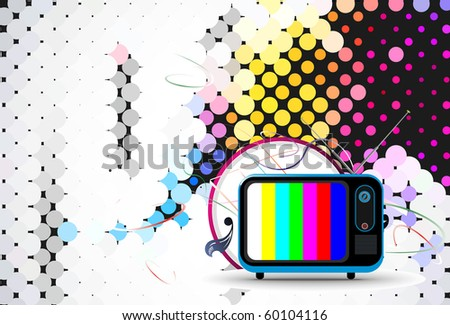 Retro television with wave circle wave background, vector illustration - stock vector