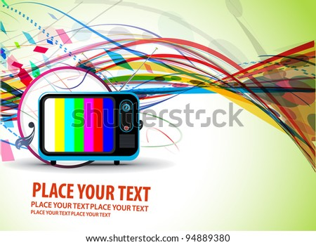 Retro television with wave line grunge music theme, vector illustration - stock vector