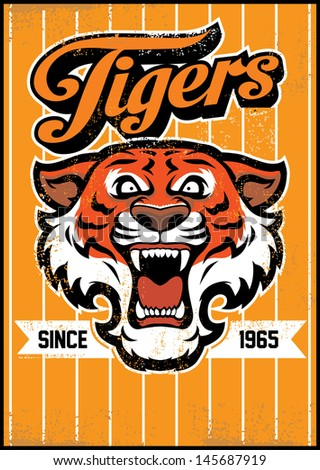 retro tiger mascot design - stock vector