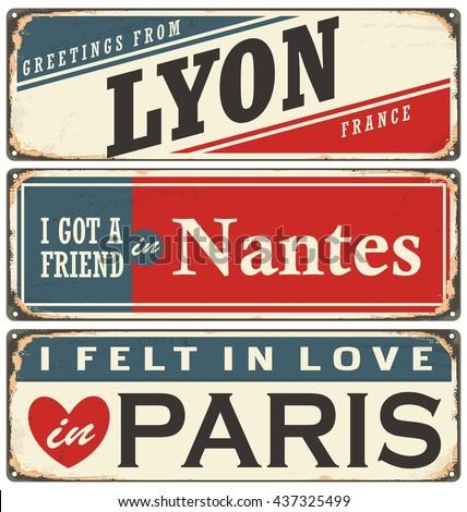 Retro tin sign collection with French cities. Vintage vector souvenir sign or postcard templates. Travel theme. - stock vector