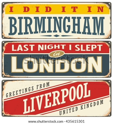 Retro tin sign collection with UK city names. Vintage vector souvenir sign or postcard templates. Travel theme. Places to visit and remember. - stock vector
