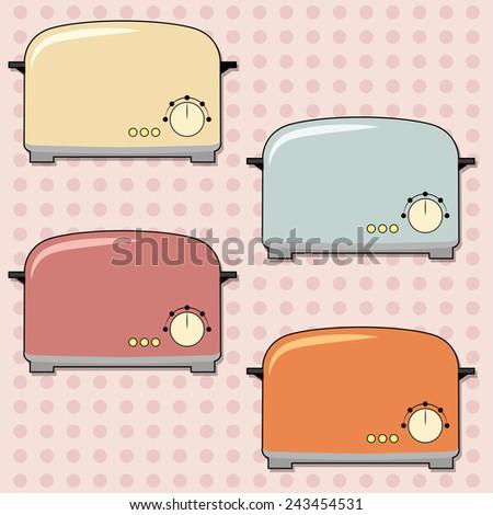 retro toaster background, illustration in vector format - stock vector