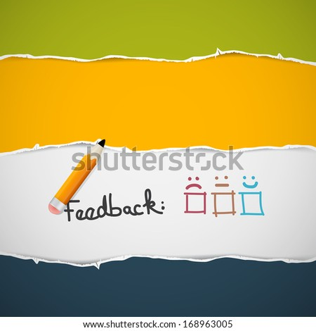 Retro Torn Paper. Feedback Background with Pencil. - stock vector