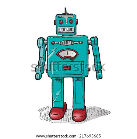Retro toy robot. Hand drawn isolated color vector sketch on white background.