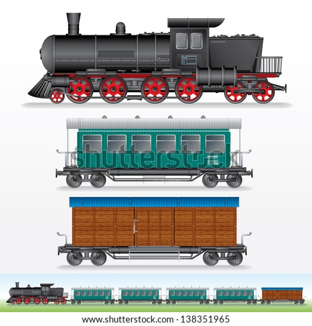 Retro Train. Vector Image of Steam Lokomotive with Railway Cargo Waggon and Passenger Car. Side View Illustration - stock vector