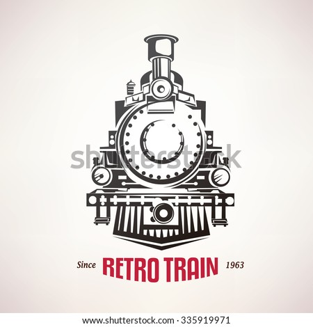 retro train, vintage  vector symbol, emblem, label template - stock vector