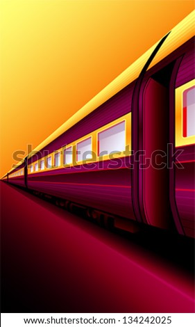 Retro train waiting for an adventure at sunset platform - stock vector