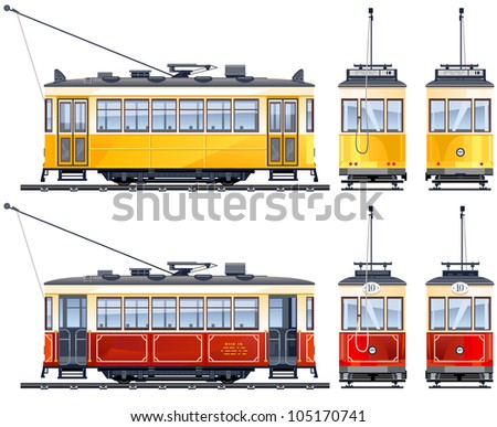 Retro Tram (1920th-our days)  icons  in vector, pixel optimized. - stock vector
