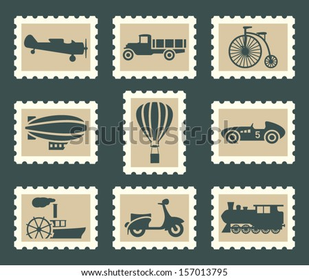 Retro transportation set - stock vector