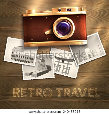 Retro travel poster with vintage camera and photo cards on wooden table background vector illustration - stock vector