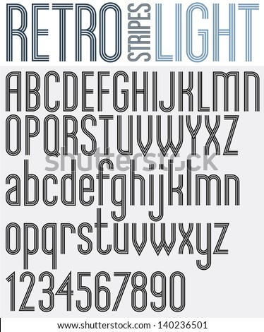 Retro triple line rounded bold font, light version, patterned old style alphabet. Best for use as a headlines in advertising, stylish retro art, graphic designs, posters and web design. Vector. - stock vector