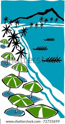 Retro Tropical Beach Tourist Outrigger Canoe Race in the Lagoon Vector Illustration - stock vector