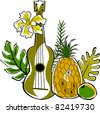 Retro Tropical Beautiful Ukulele Garden Collage Vector Illustration - stock vector