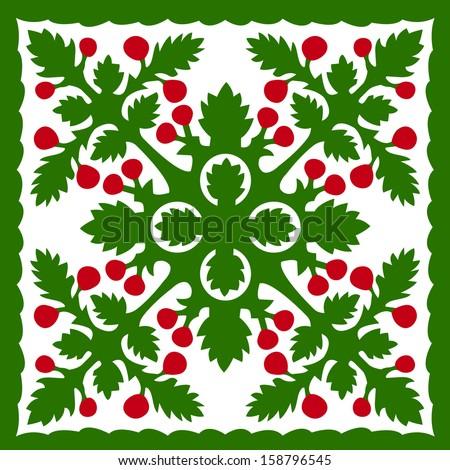 Retro Tropical Christmas Hawaiian Quilt Background Vector Illustration - stock vector