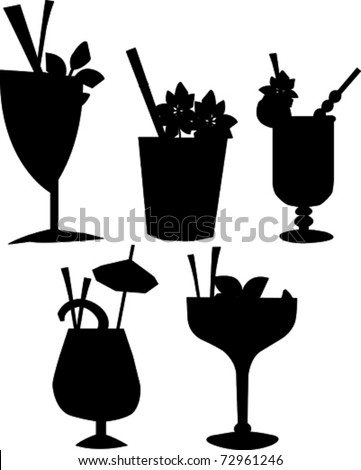 Retro Tropical Cocktail Drink Silhouette Set Vector Illustration - stock vector