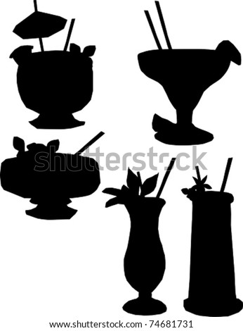 Retro Tropical Cocktail Drinks Silhouette Set Vector Illustration - stock vector