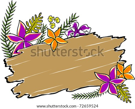 Retro Tropical Driftwood Floral Leaves Sign Vector Illustration - stock vector