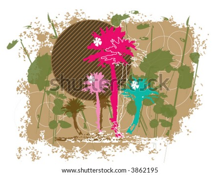 retro tropical grunge colored palms (vector) - illustration - stock vector