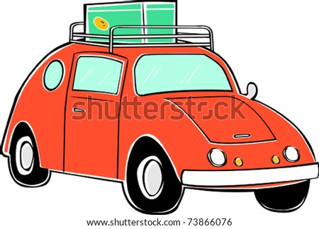 Retro Tropical Happy Hippie Compact Car Vector Illustration
