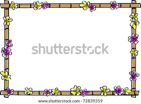 Retro Tropical Horizontal Bamboo Frame with Scattered Plumeria Flower Blossoms Vector Illustration - stock vector