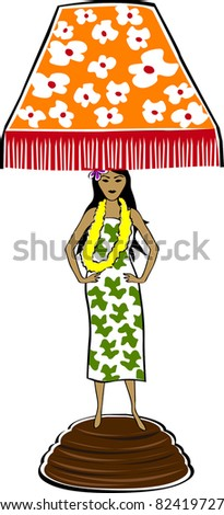 Retro Tropical Hula Girl Lamp Vector Illustration - stock vector