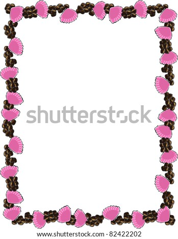 Retro Tropical Lei Shell Frame with Kukui Nuts Vector Illustration - stock vector