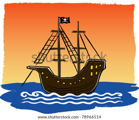 Retro Tropical Pirate Ship Anchored at Sunset Vector Illustration