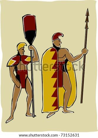 Retro Tropical Royal King and Warrior Headed to War Vector Illustration - stock vector