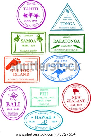 Retro Tropical Set of Fun Island Passport Stamps Vector Illustration - stock vector