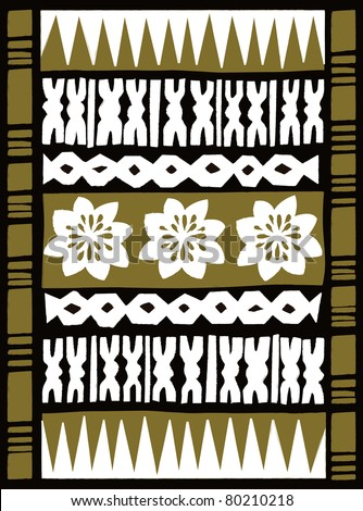 Retro Tropical Tapa Cloth Background in Brown Vector Illustration - stock vector
