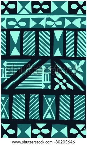 Retro Tropical Tapa Cloth Background in Teal Vector Illustration - stock vector