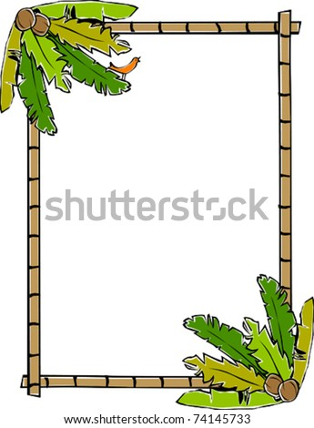 Retro Tropical Vertical Bamboo Frame with Corner Banana Leaves Coconuts and a Birdie Vector Illustration - stock vector