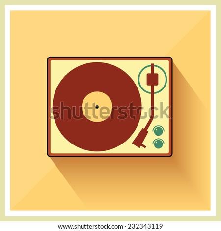 Retro turntable vinyl record player vector - stock vector